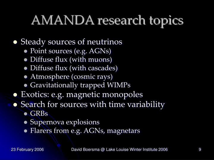 AMANDA research topics