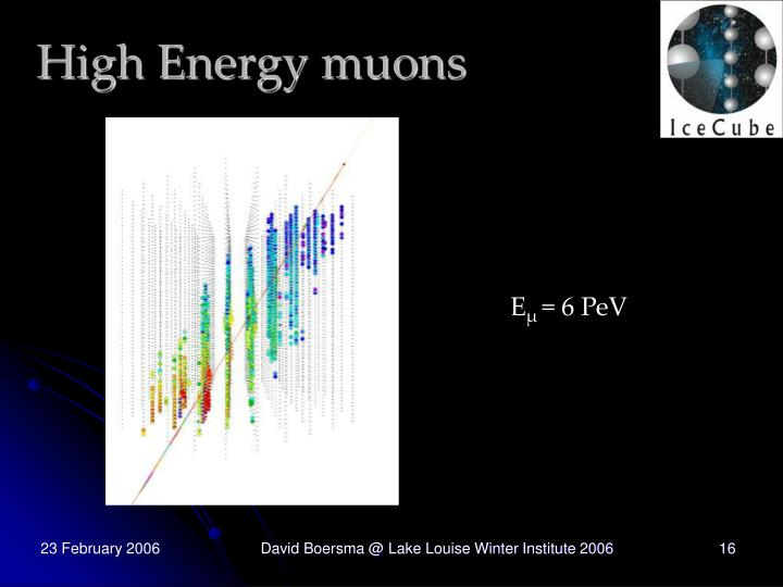 High Energy muons