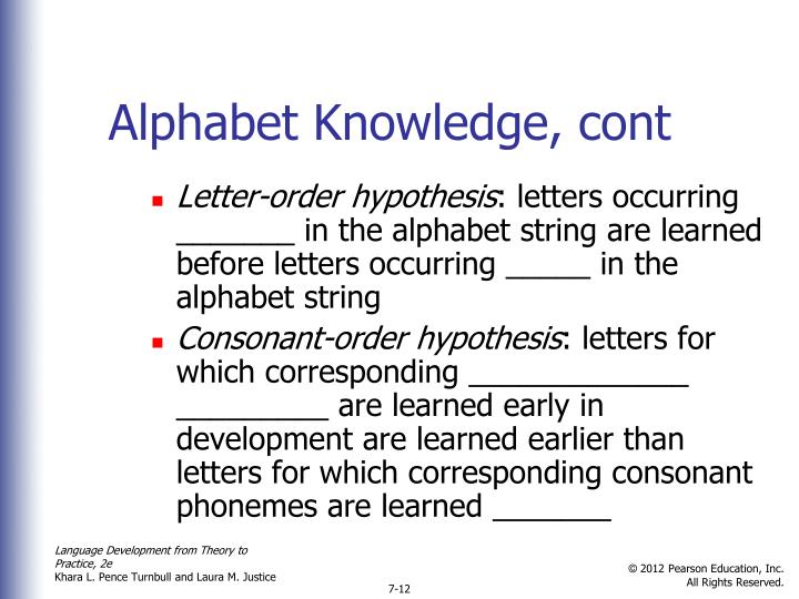 Alphabet Knowledge, cont