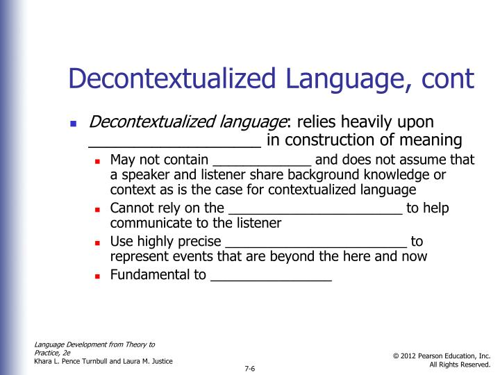 Decontextualized Language, cont
