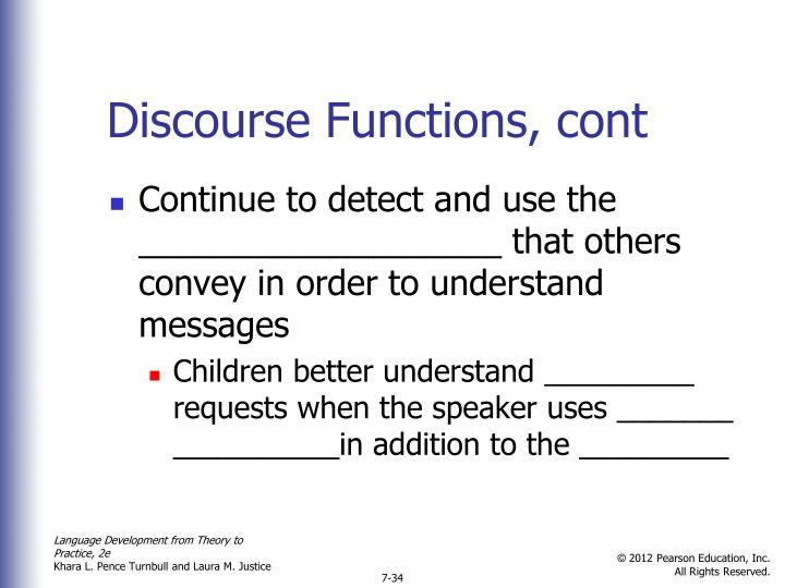 Discourse Functions, cont