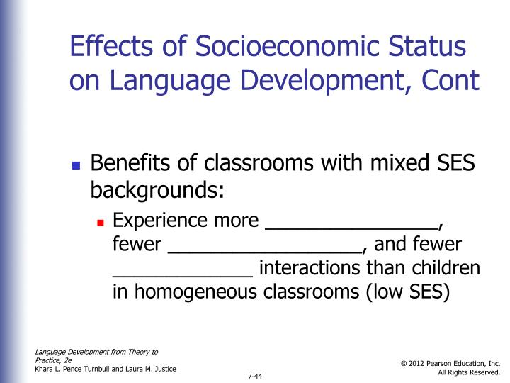 Effects of Socioeconomic Status on Language Development, Cont