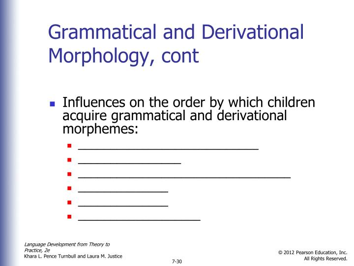 Grammatical and Derivational Morphology, cont
