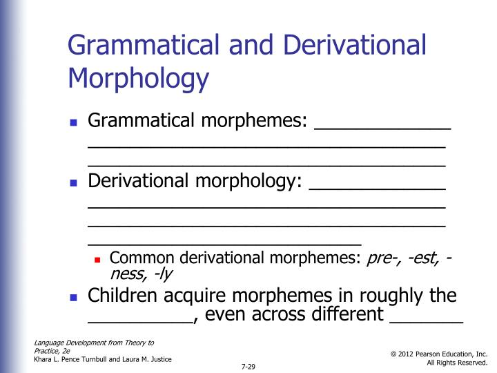 Grammatical and Derivational Morphology