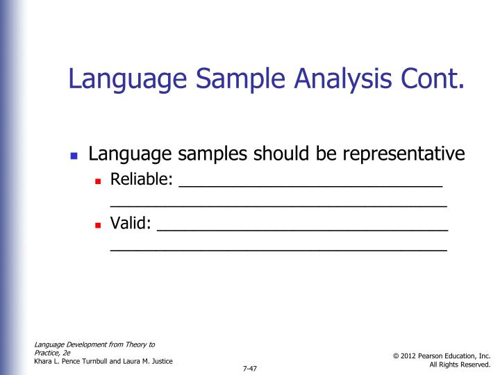 Language Sample Analysis Cont.