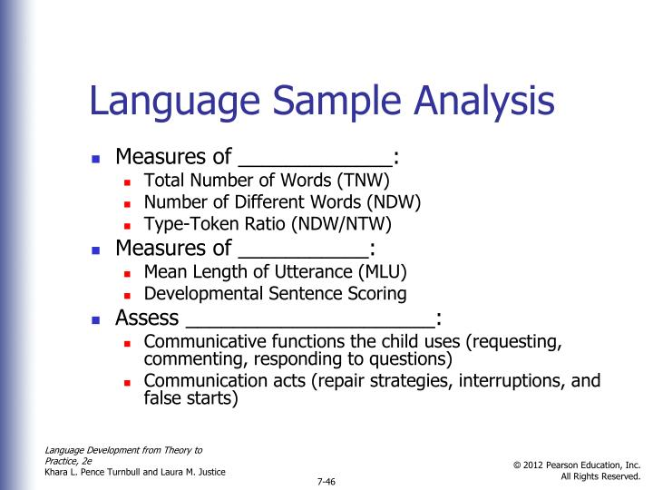 Language Sample Analysis
