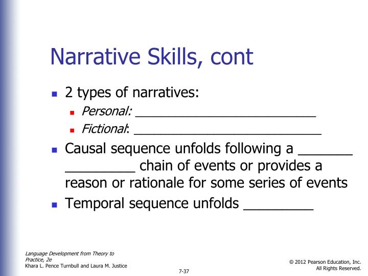Narrative Skills, cont