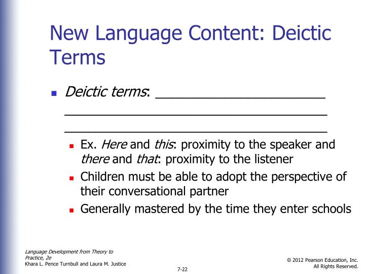 New Language Content: Deictic Terms