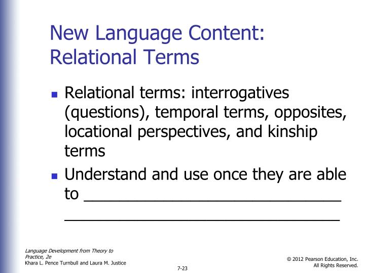 New Language Content: Relational Terms