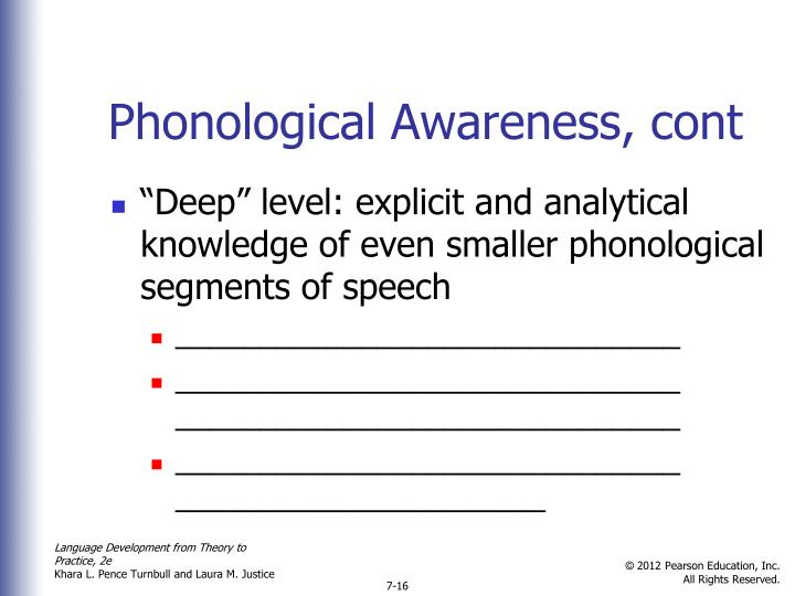 Phonological Awareness, cont