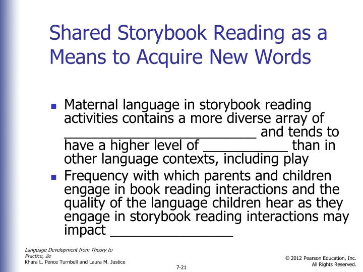Shared Storybook Reading as a Means to Acquire New Words