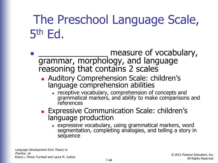 The Preschool Language Scale, 5