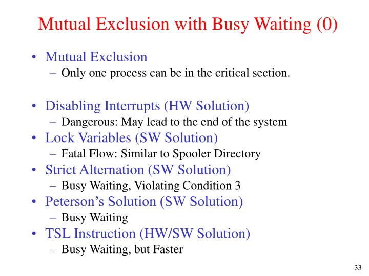 Mutual Exclusion with Busy Waiting (0)