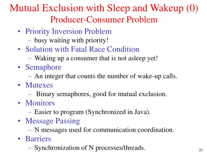 Mutual Exclusion with Sleep and Wakeup (0)