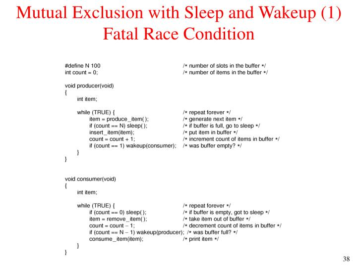 Mutual Exclusion with Sleep and Wakeup (1)