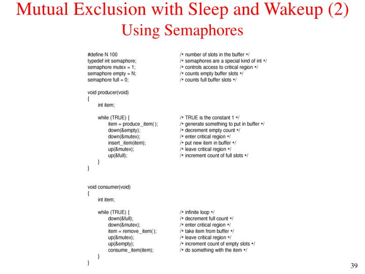 Mutual Exclusion with Sleep and Wakeup (2)