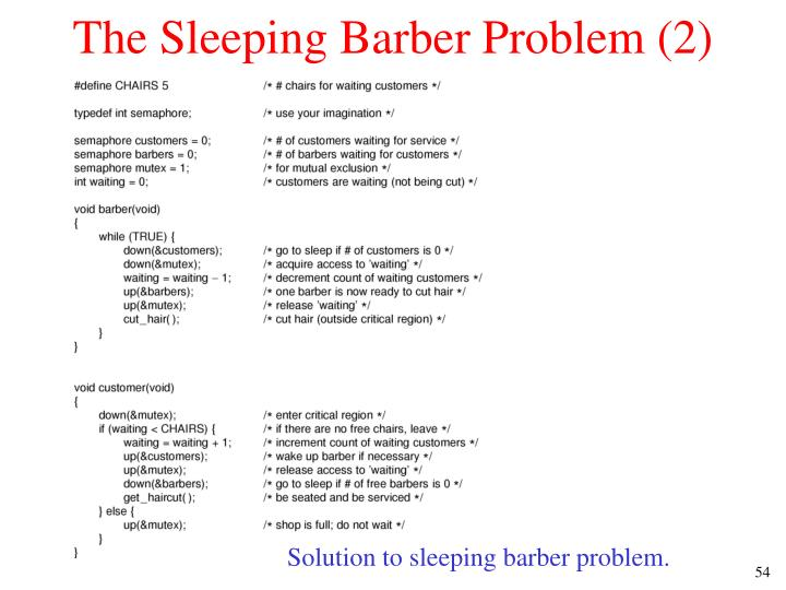 The Sleeping Barber Problem (2)