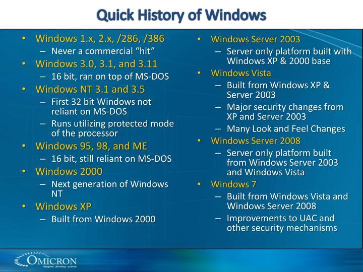Quick History of Windows