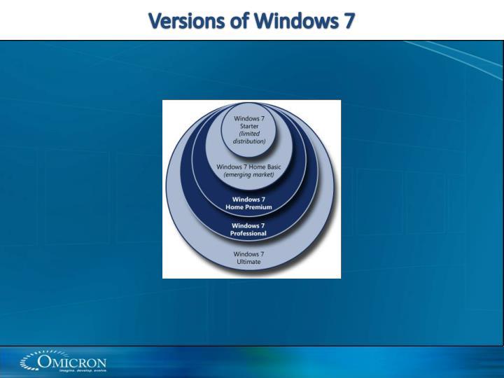Versions of Windows 7