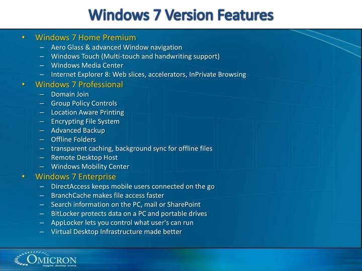 Windows 7 Version Features