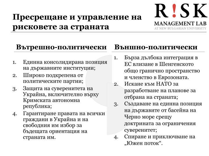 Пресрещане и управление на рисковете за страната