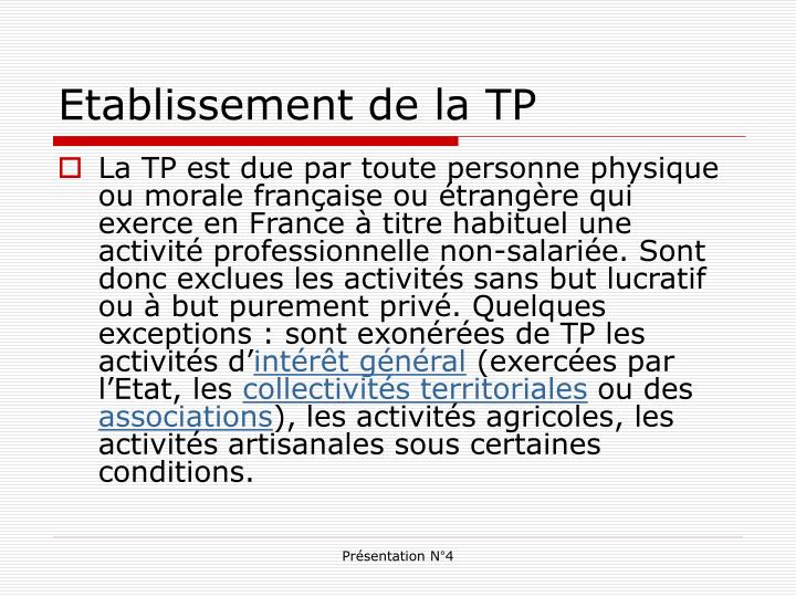 Etablissement de la TP