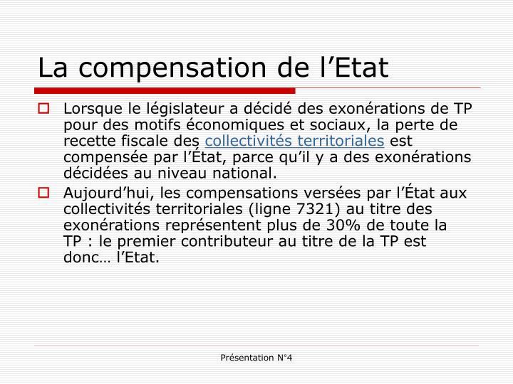 La compensation de l'Etat