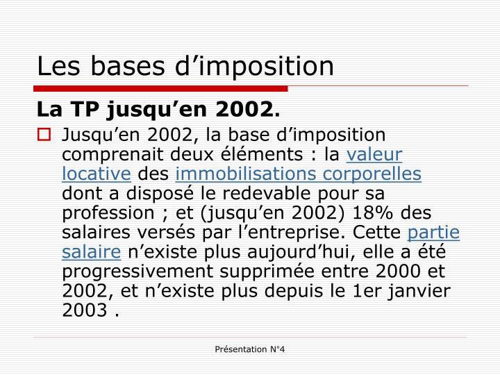 Les bases d'imposition