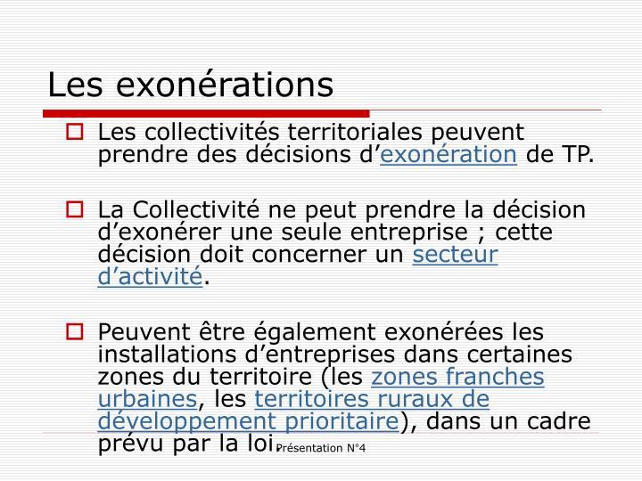 Les exonérations