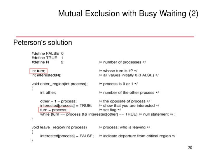 Mutual Exclusion with Busy Waiting (2)