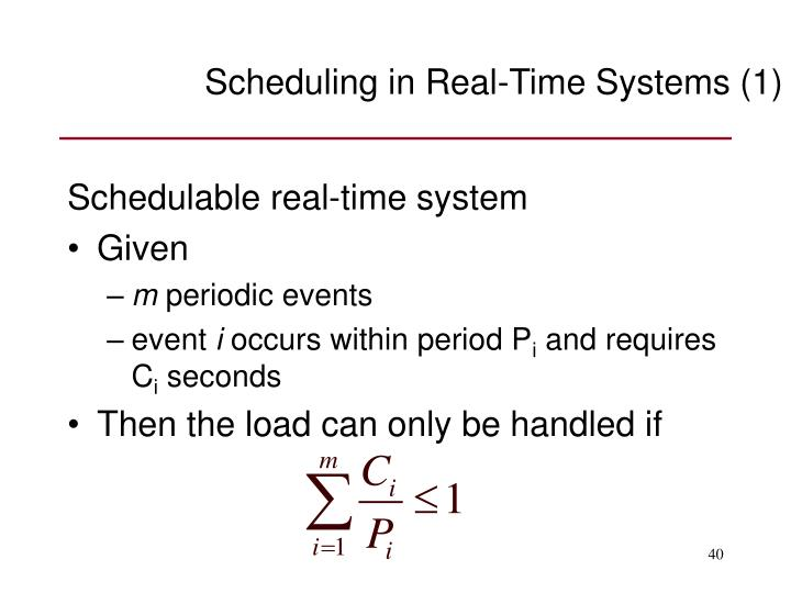Scheduling in Real-Time Systems (1)