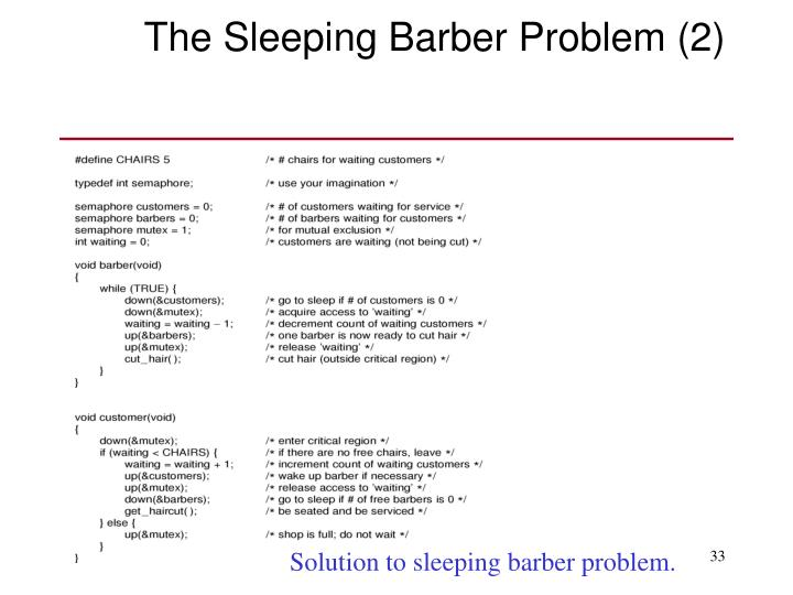 The Sleeping Barber Problem (2)