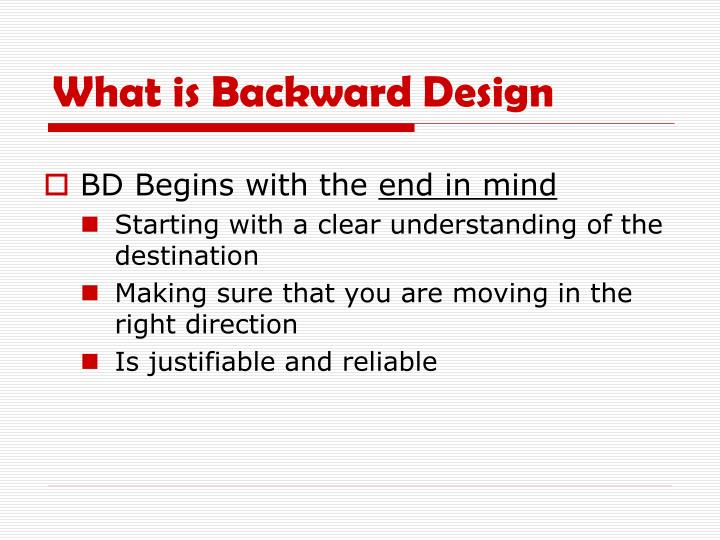 What is Backward Design