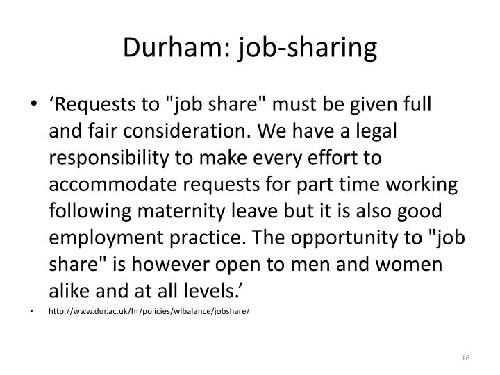 Durham: job-sharing