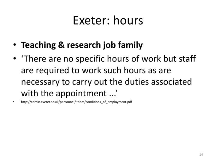 Exeter: hours