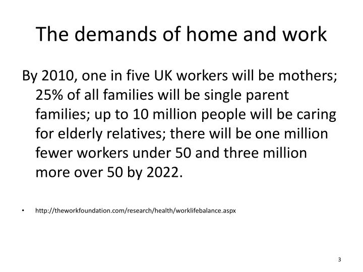 The demands of home and work