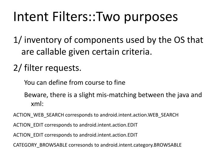 Intent Filters::Two purposes