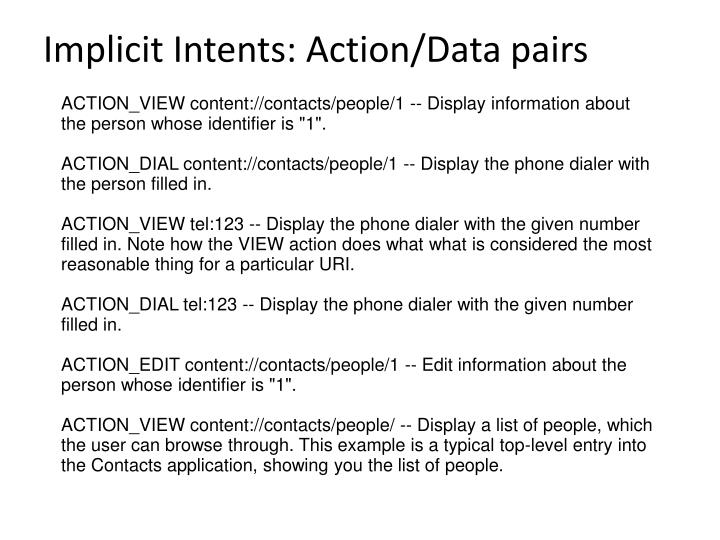 Implicit Intents: Action/Data pairs