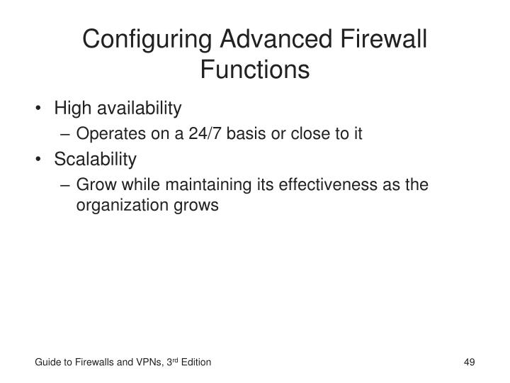 Configuring Advanced Firewall Functions