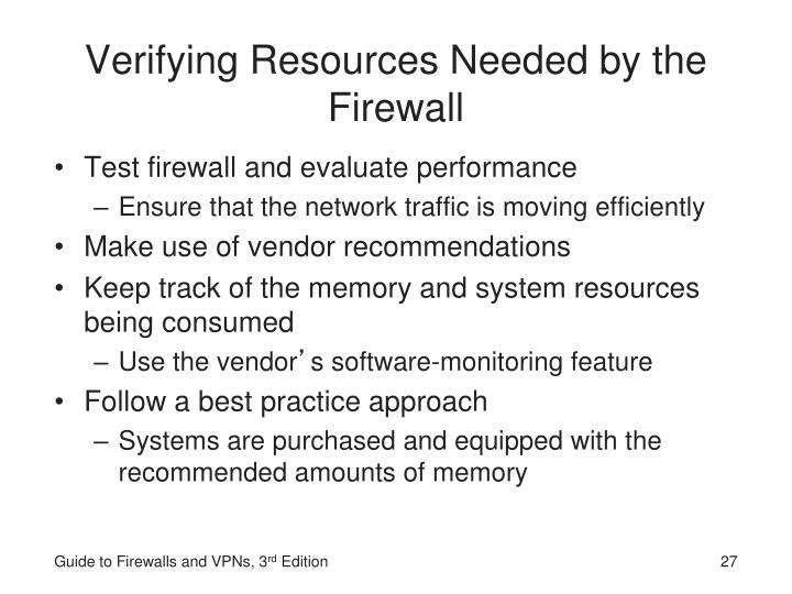 Verifying Resources Needed by the Firewall