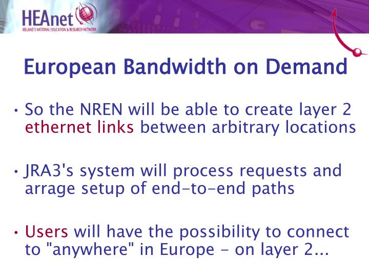 European Bandwidth on Demand