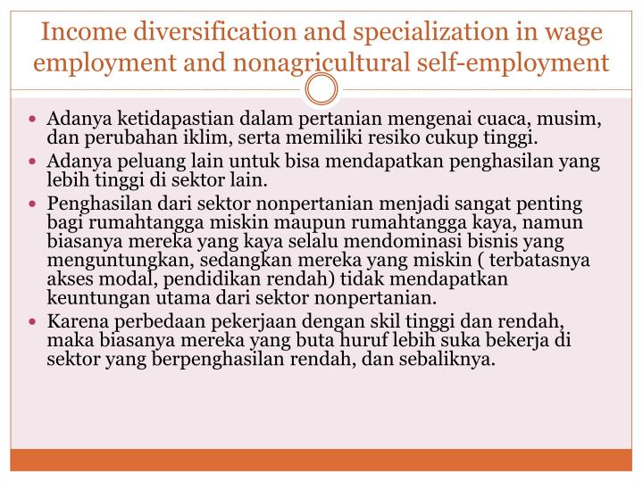 Income diversification and specialization in wage employment and nonagricultural self-employment
