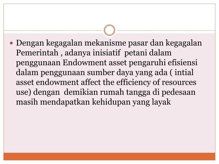 Dengan kegagalan mekanisme pasar dan kegagalan Pemerintah , adanya inisiatif  petani dalam  penggunaan Endowment asset pengaruhi efisiensi dalam penggunaan sumber daya yang ada ( intial asset endowment affect the efficiency of resources use) dengan  demikian rumah tangga di pedesaan masih mendapatkan kehidupan yang layak