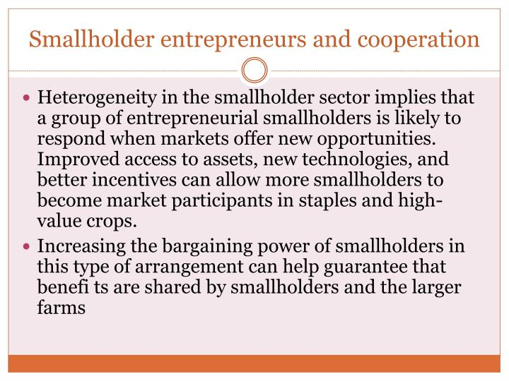 Smallholder entrepreneurs and cooperation