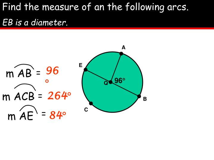 Find the measure of an the following arcs.
