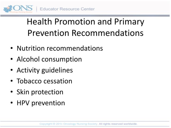 Health Promotion and Primary Prevention Recommendations