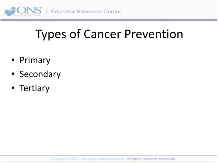 Types of Cancer Prevention