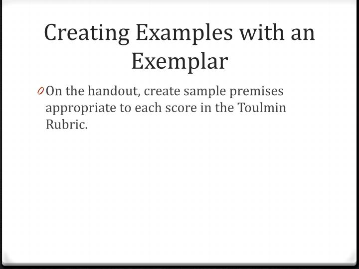 Creating Examples with an Exemplar