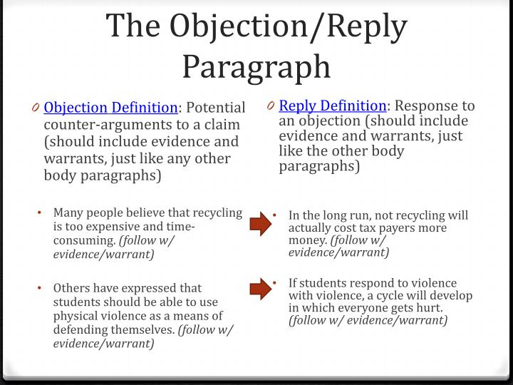 The Objection/Reply Paragraph