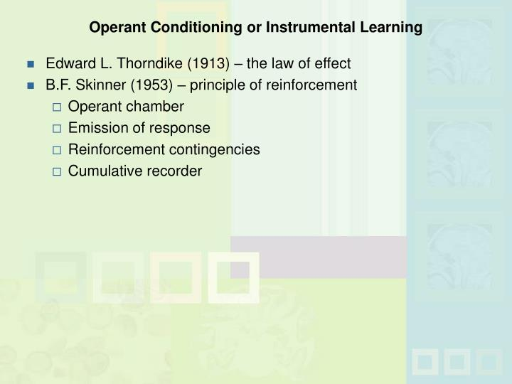 Operant Conditioning or Instrumental Learning